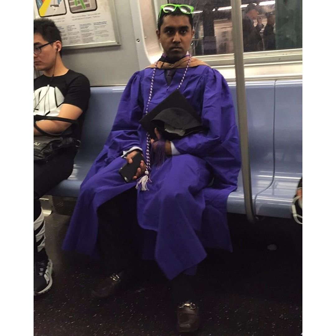 Nyu (I think purple is theirs) has so much pride. His loafers were an eggplant shade of purple. So many parents around in purple ties Etc. I wish his shades were purple but still so proud of him. I wish I'd went to a real college and graduated