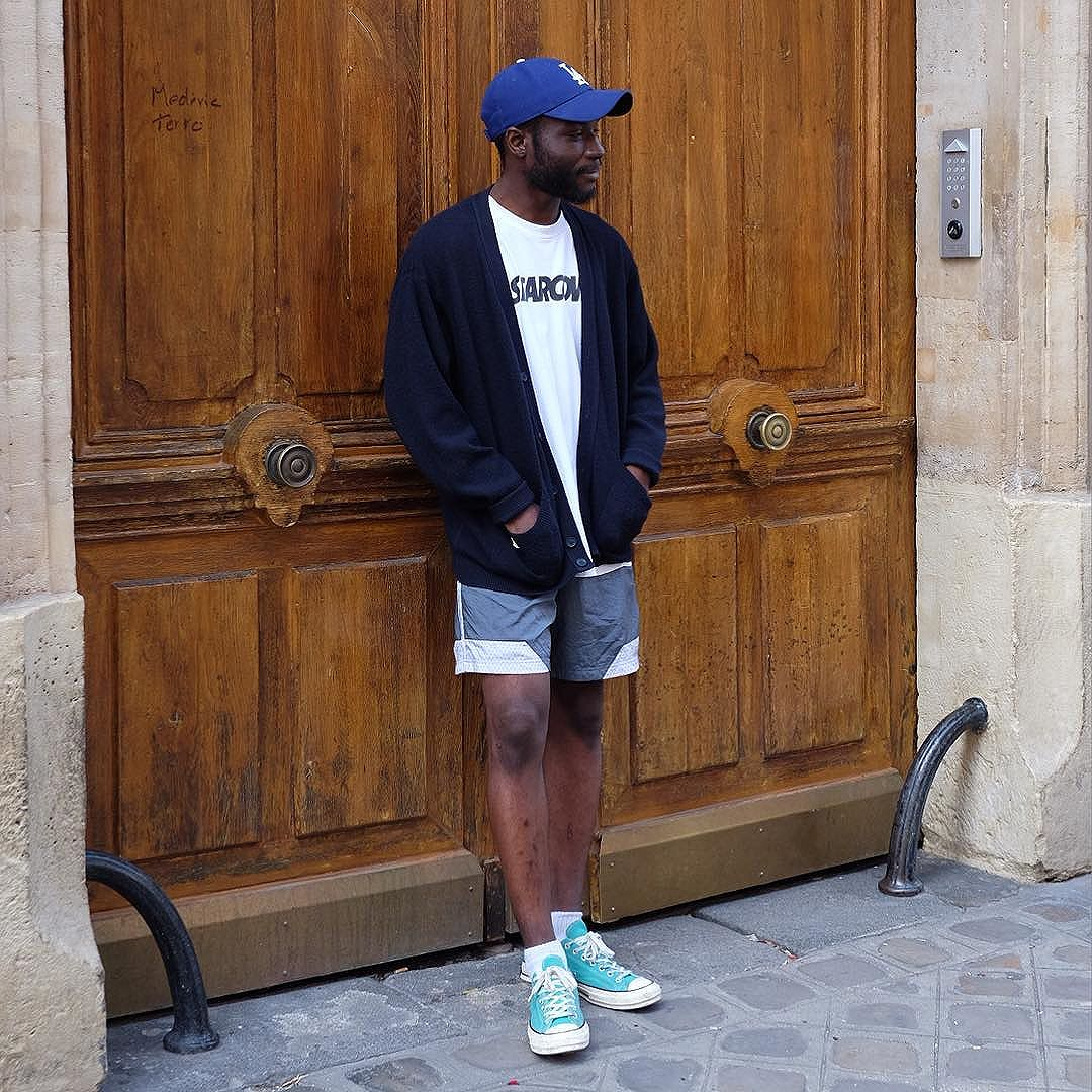 """I was walking home from work in Paris and see Mams at a bike dock waiting for his call for a food delivery chatting with his friend, politely in the coolest french accent asks """"mistermort""""? Such a rad feeling to be recognized anywhere but especially in a foreign country! Thank you so much! Love that he works in tennis shorts and a cardigan!"""
