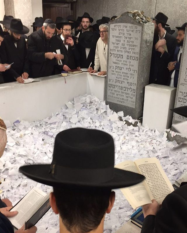 before Rosh Hashanna we pray by the gravesite of the Rebbe. Visiting the gravesite expresses respect for the departed, shows that their memory has not been forgotten, and reinforces one's connection to them.  It is considered a great merit to pray at the gravesite of a loved one and that of a great Torah sage, for we are taught that a portion of the soul is always present at the gravesite.  Throughout Jewish history, in times of need, trouble or distress, people would go to a Jewish cemetery and pray to G‑d, invoking the merits of the deceased and requesting that they intercede in the Heavens, and carry the prayers to G‑d.  One also visits the gravesite to pray for the elevation of the departed soul.