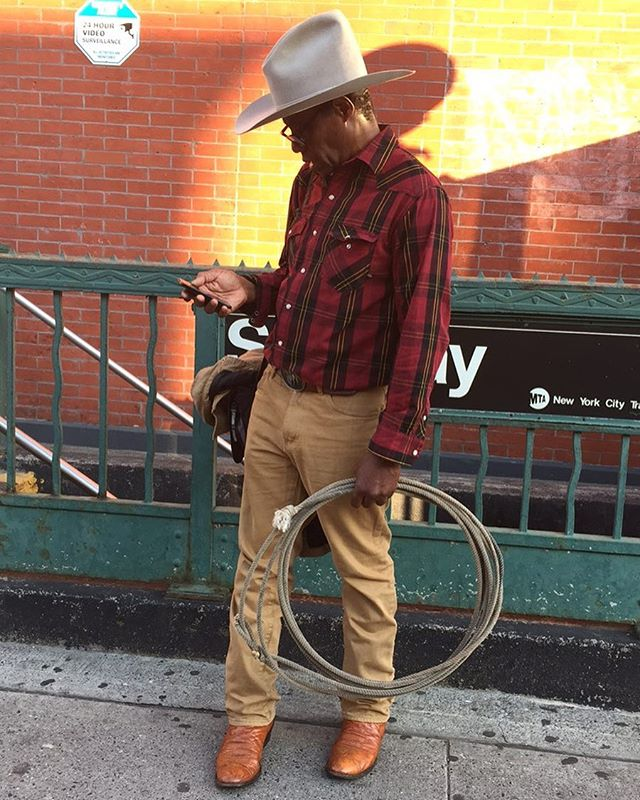 """this evening in brooklyn. he was on way to a casting call (""""they were looking for a cowboy to lasso"""") and was lost. i helped him find his way, it was for a show called High Maintenance I think he said."""