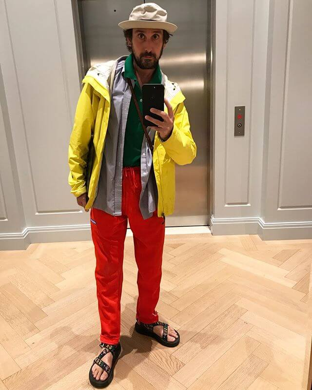 It rained today. I ESPECIALLY like color on rainy days. It makes me feel like a kid to wear all that color at once. I also like standing out from the crowd. NY is crowded! I almost carried a bag since these pants aren't meant for 'stuff' and thought about a fannypack but i'm kinda over them now that it's a starter pack kinda thing. I hesitated carrying a tote JUST for a rain jacket, but that's silly. So I put my stuff in the rain jacket pockets!  I love my wife as I read this aloud to her while she's trying to relax on the couch.