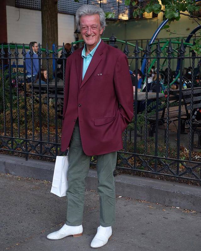 A cricket player visits New York in his Sunday best