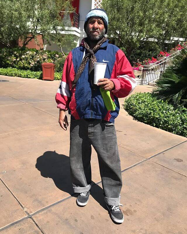 On our drive from Nevada to Utah we got a flat tire. We were right outside the Wynn so we had a really nice lunch there. This guys outfit was a win for me. Serious style in the desert!