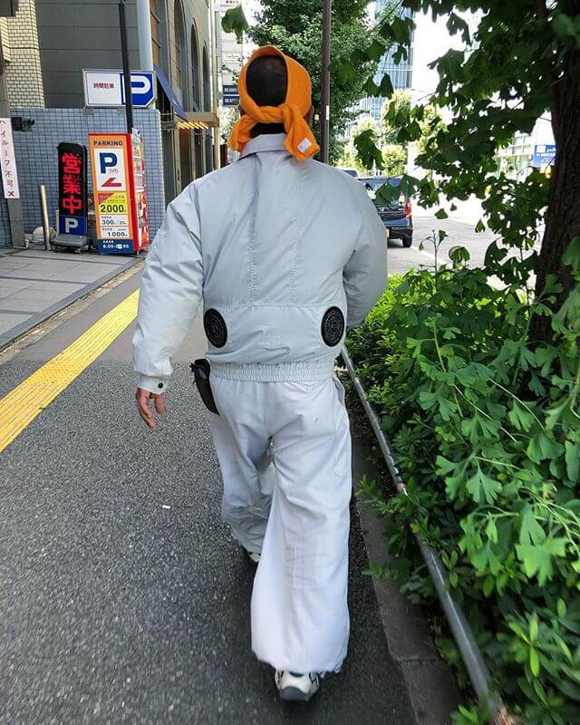 Folks we're asking if I'd seen the classic baggy tapered construction worker pant in Japan, but what do you know about the built in fans!?