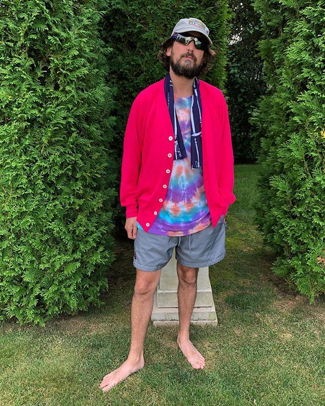 A few years ago I saw a dude in Paris idling on his bike between delivery runs and he was wearing swim trunks a white t and a cardigan and I was inspired. I finally got the ultimate summertime cardigan from nanamica. It's got cool max and made with water repellent yarn! Not a heavy shvitzer but feels cool to wear it. Very Japanese to take a perfect cardigan and improve on it. American companies talk about innovation but they think we want clothing to talk to us or some dumb shit. This here is smart. In look and function.
